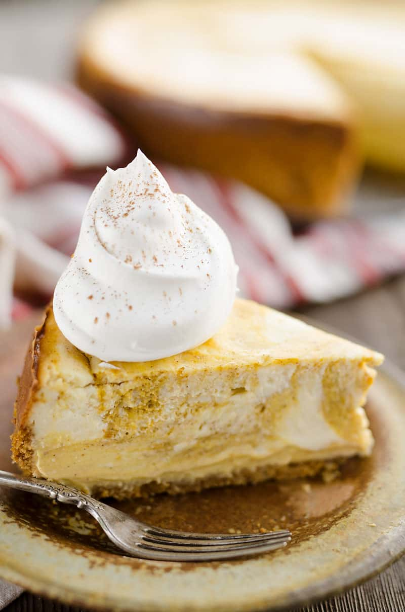Pumpkin Swirl Cheesecake with cool whip