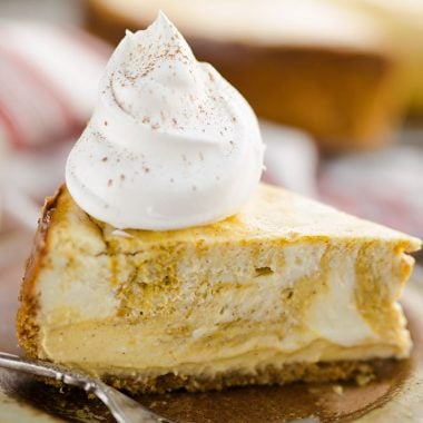 Pumpkin Swirl Cheesecake slice
