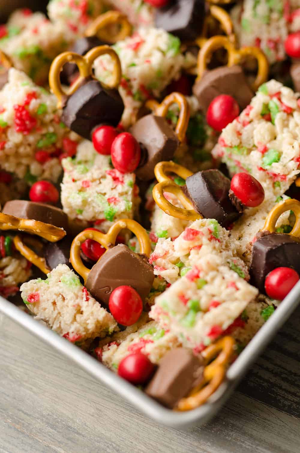 Rice Krispies Reindeer Snack Mix with FREE Printable pan