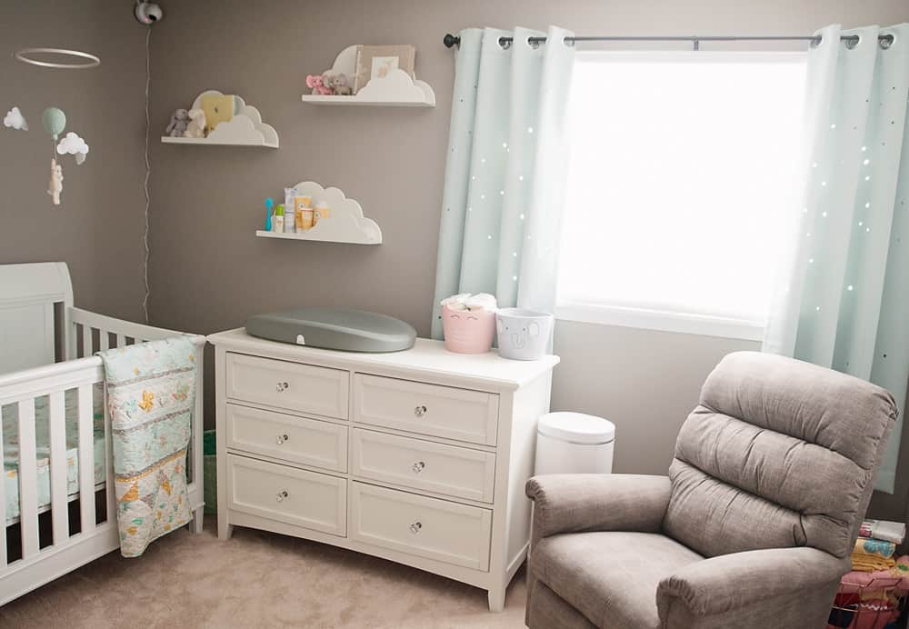 Boy Girl Gender Neutral Twin Bunny Nursery Reveal - Changing table dresser and recliner