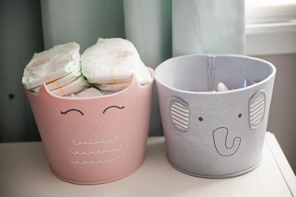 Boy Girl Gender Neutral Twin Bunny Nursery Reveal - Felt Storage Bin Owl & Elephant Cloud Island