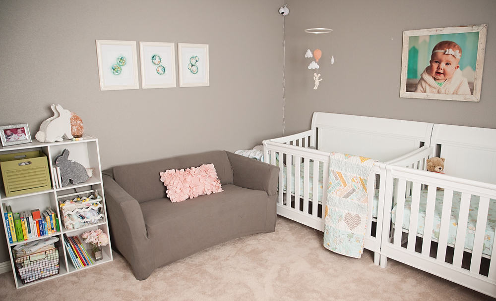 Boy Girl Gender Neutral Twin Bunny Nursery Reveal - Loveseat & Bookshelf