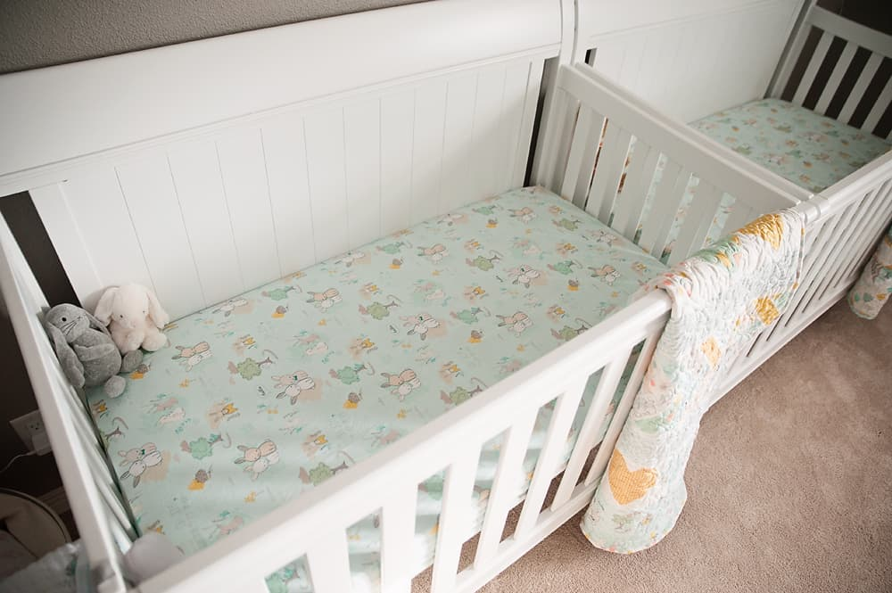 Boy Girl Gender Neutral Twin Bunny Nursery Reveal - New Haven 4-in-1 Convertible Crib, Bianca, White