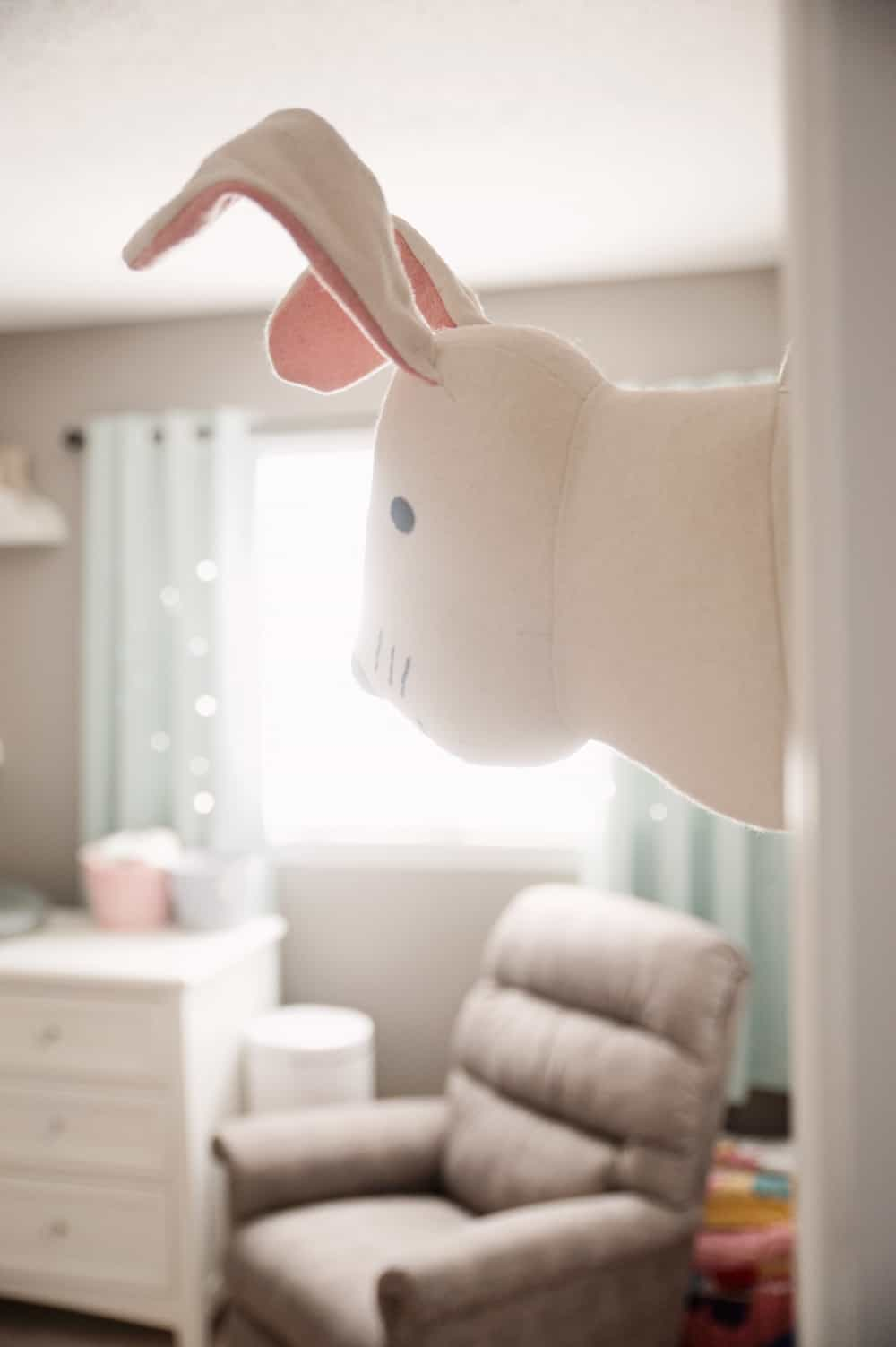 Boy Girl Gender Neutral Twin Bunny Nursery Reveal - Pillowfort Plush Bunny Head Mounted