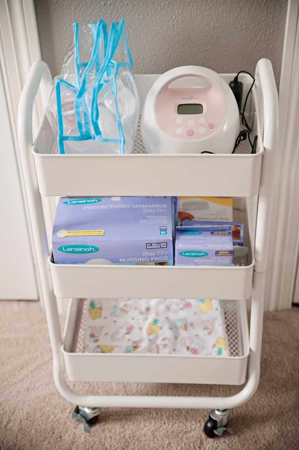 Boy Girl Gender Neutral Twin Bunny Nursery Reveal - Storage Cart White Room Essentials Breastfeeding