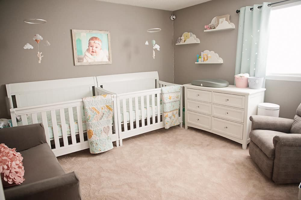 Boy Girl Gender Neutral Twin Bunny Nursery Reveal - The Creative Bite