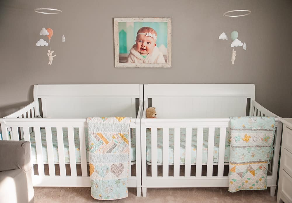 Boy Girl Gender Neutral Twin Bunny Nursery Reveal - White Cribs