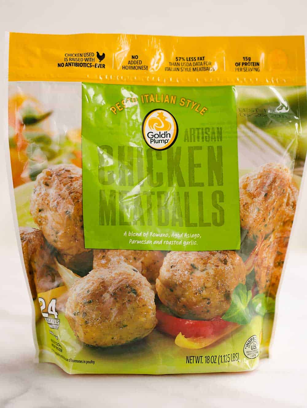 Gold'n Plump Pesto Italian Style Chicken Meatballs in bag
