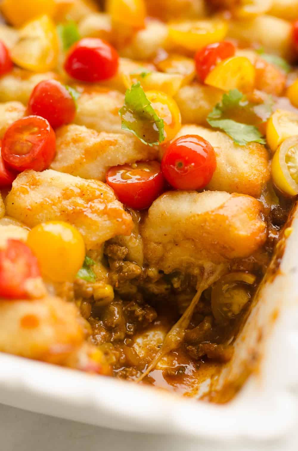 Light Taco Cauliflower Tot Hotdish casserole