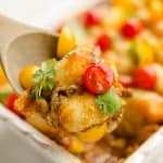 Light Taco Cauliflower Tot Hotdish scoop