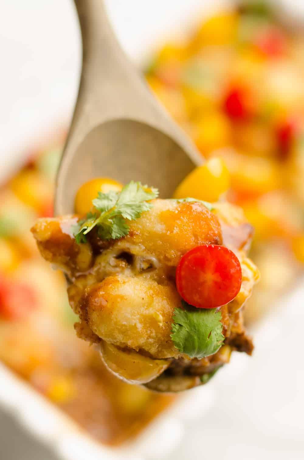 Light Taco Cauliflower Tot Hotdish spoonful