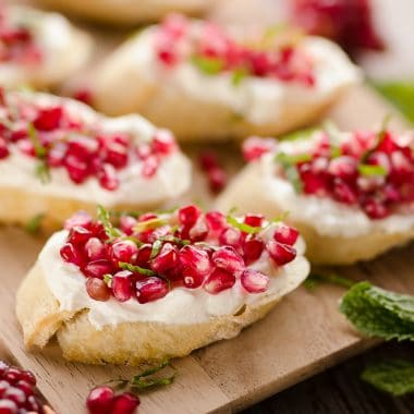 Pomegranate Goat Cheese Crostini plated