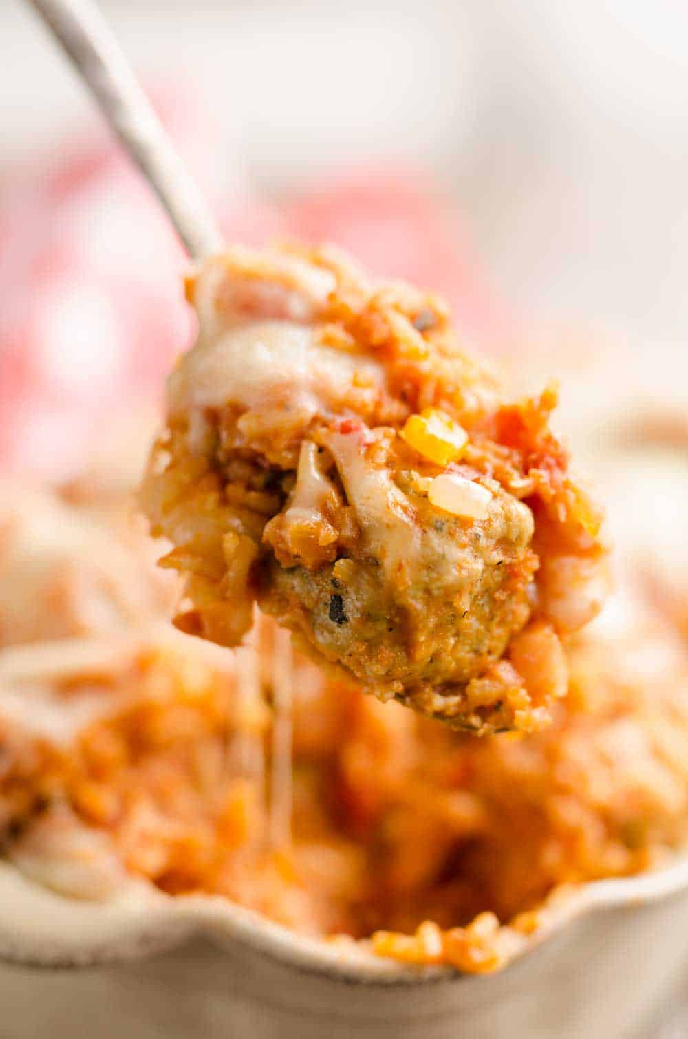 Pressure Cooker Cheesy Italian Rice & Meatballs