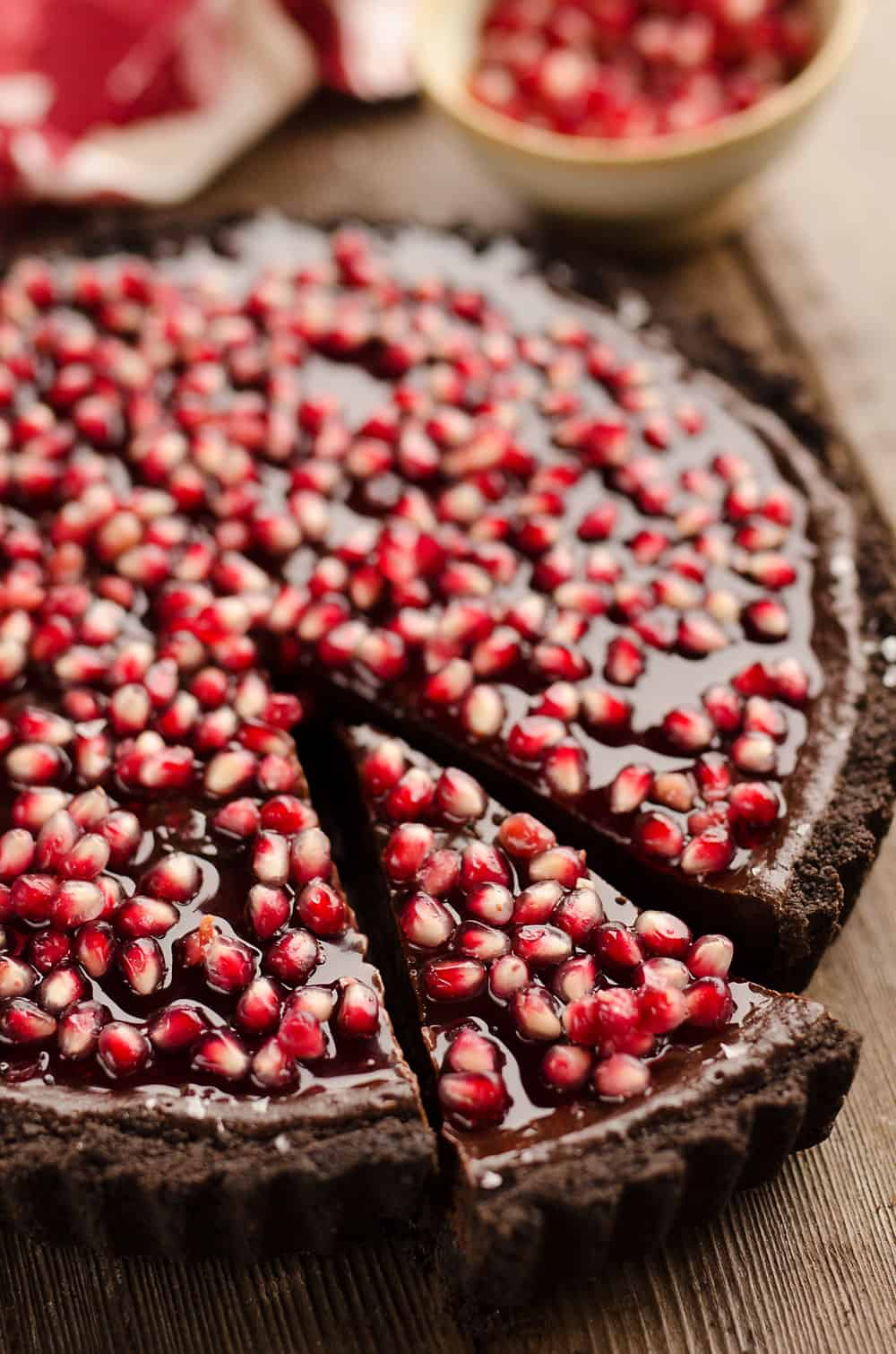 Salted Dark Chocolate Pomegranate Tart