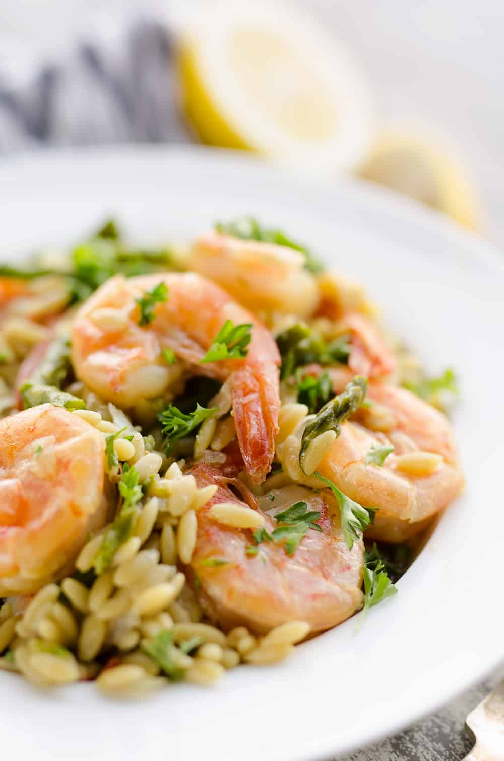 Pressure Cooker Lemon Butter Shrimp & Orzo Dinner