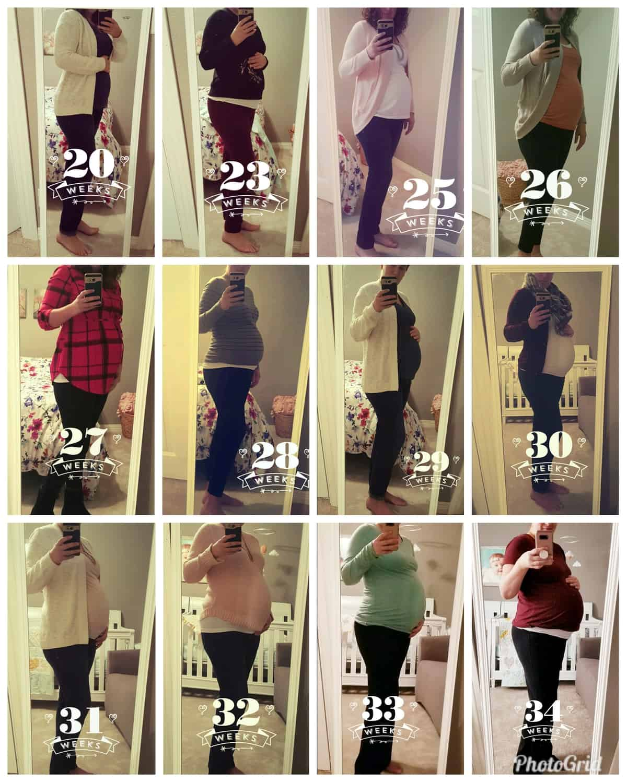Twin pregnancy progression photos