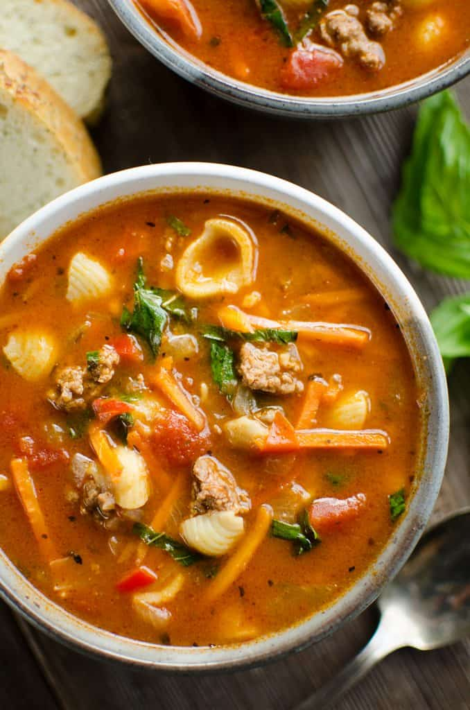 Pressure Cooker Hamburger & Pasta Soup in bowl