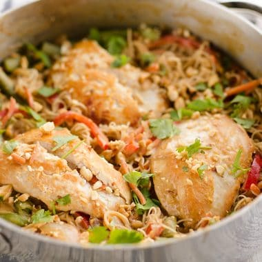 Thai Peanut Chicken Noodle Skillet in pan
