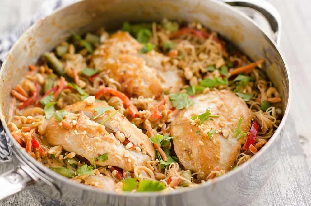 Thai Peanut Chicken Noodle Skillet in pan