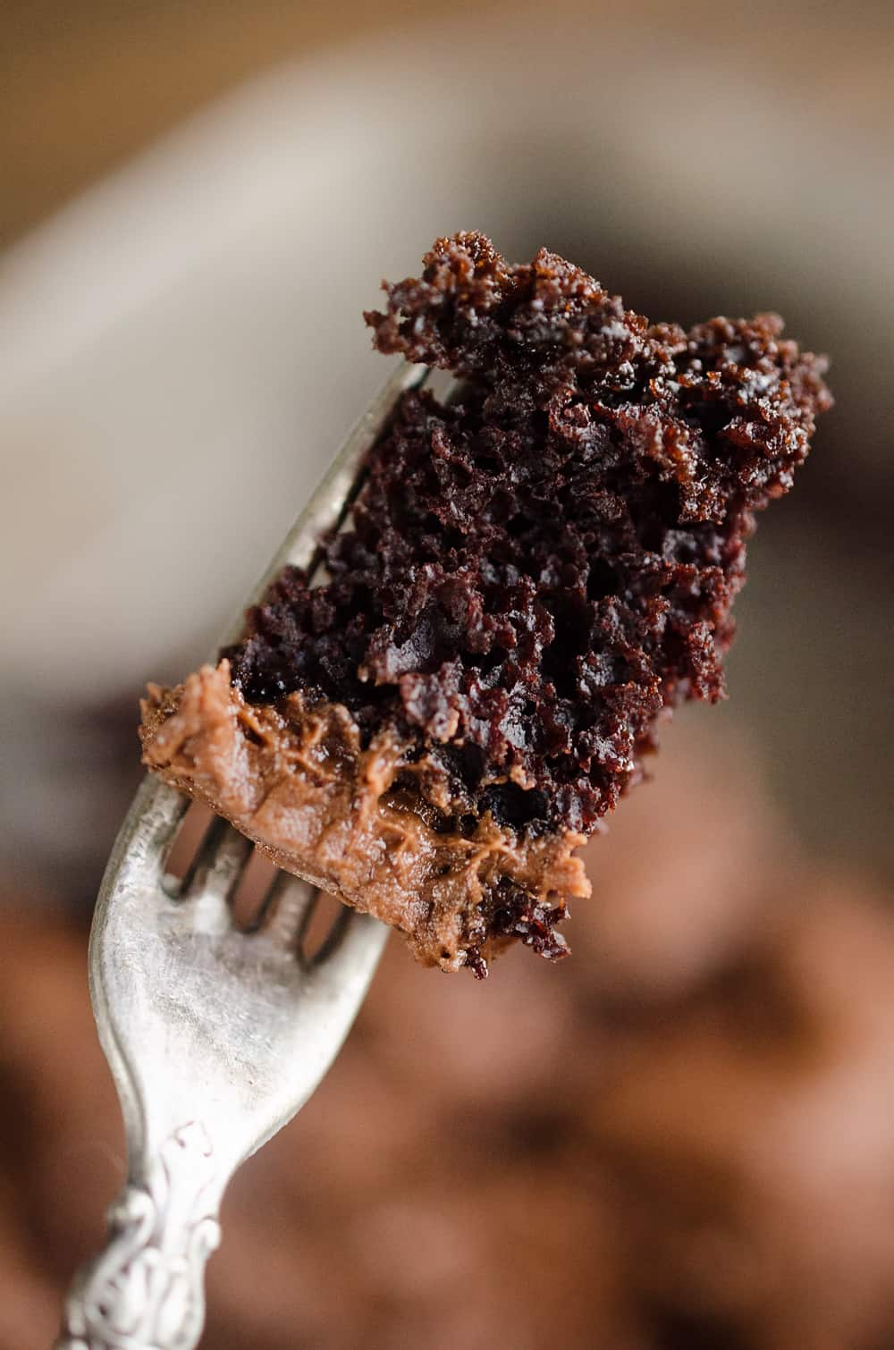 Triple Chocolate Cake bite on fork