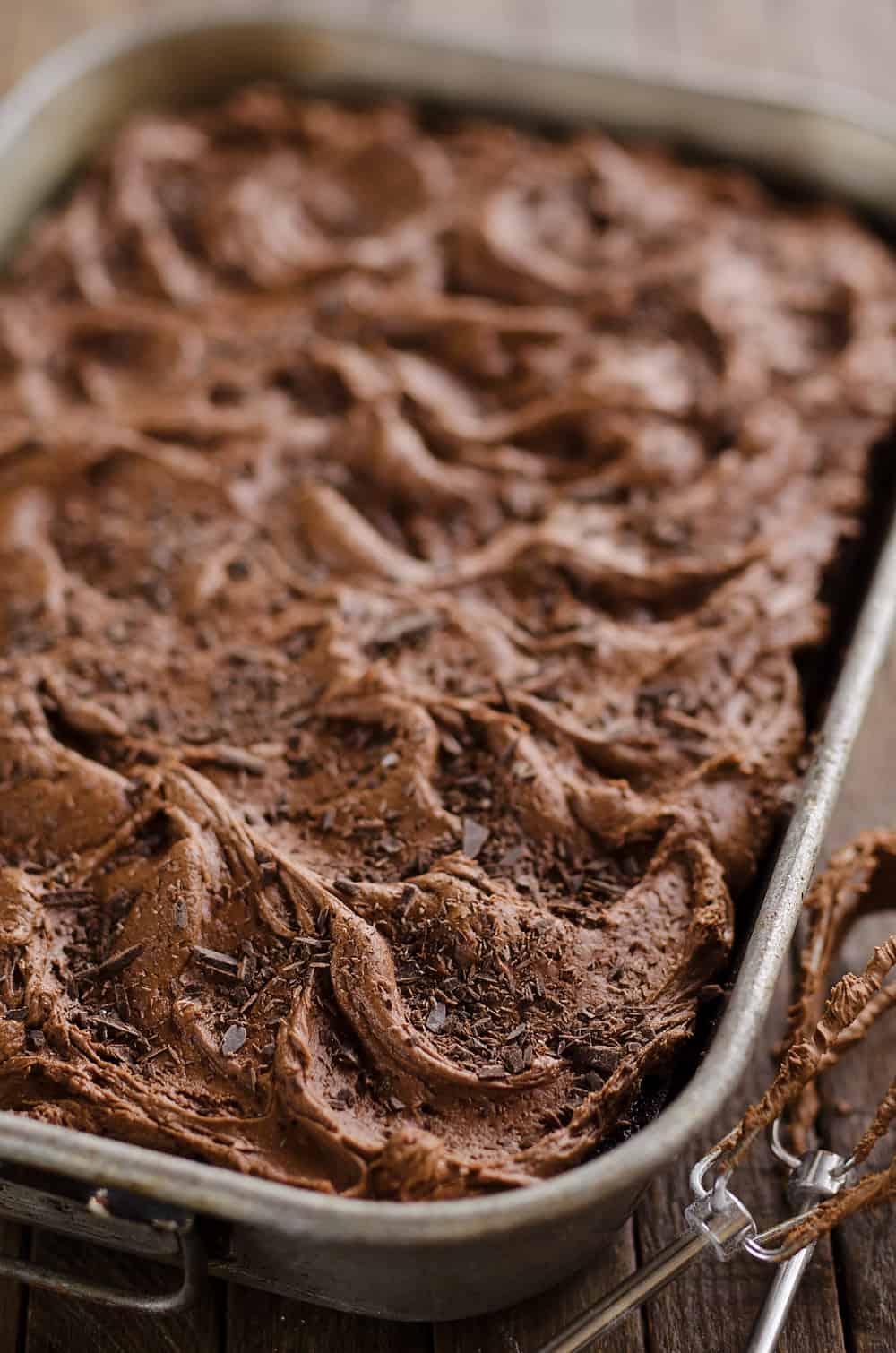 Triple Chocolate Cake in pan