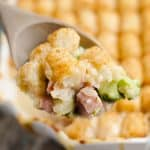 Cheesy Ham & Broccoli Tater Tot Hotdish spoonful