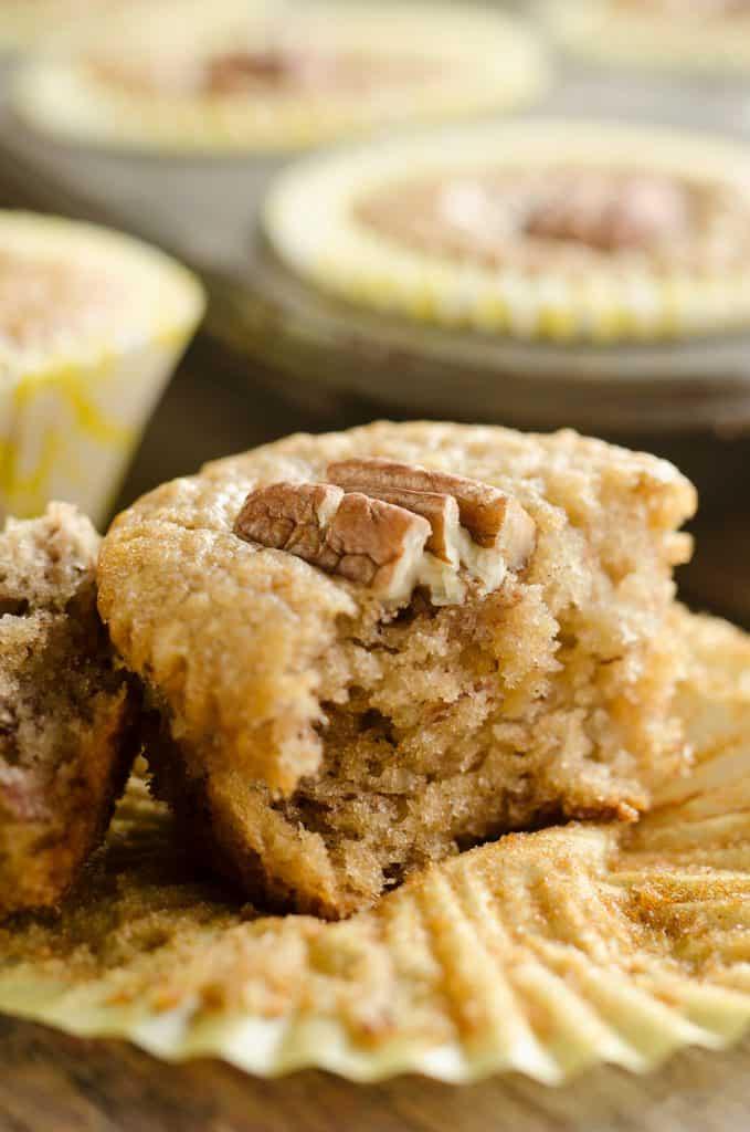 Cinnamon Pecan Banana Bread Muffins bite