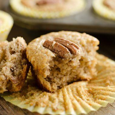 Cinnamon Pecan Banana Bread Muffins bitten