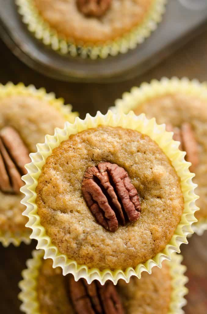 Cinnamon Pecan Banana Bread Muffins stacked