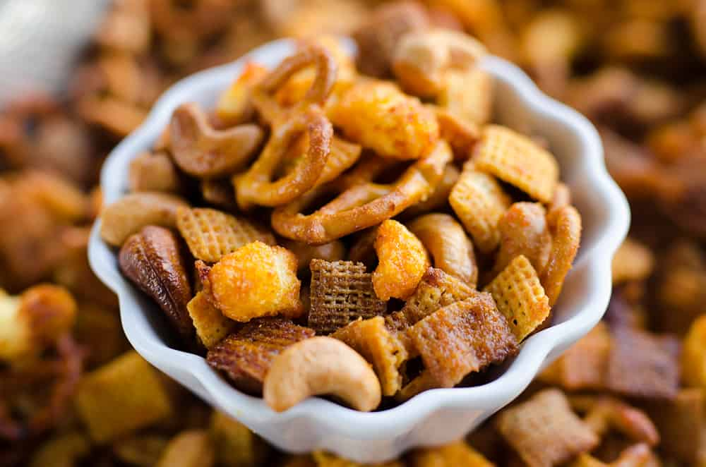 Honey Sriracha Snack Mix in a bowl