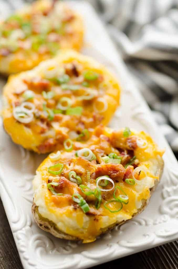 Airfryer Ham & Three Cheese Twice Baked Potatoes served