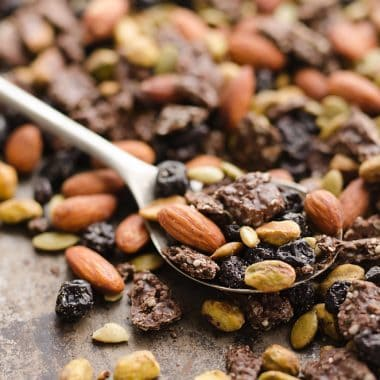 Blueberry Dark Chocolate Superfood Trail Mix with spoon