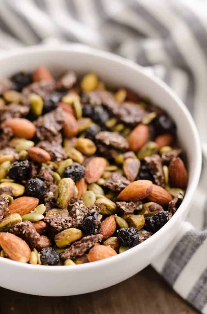 Blueberry Dark Chocolate Superfood Trail Mix in bowl