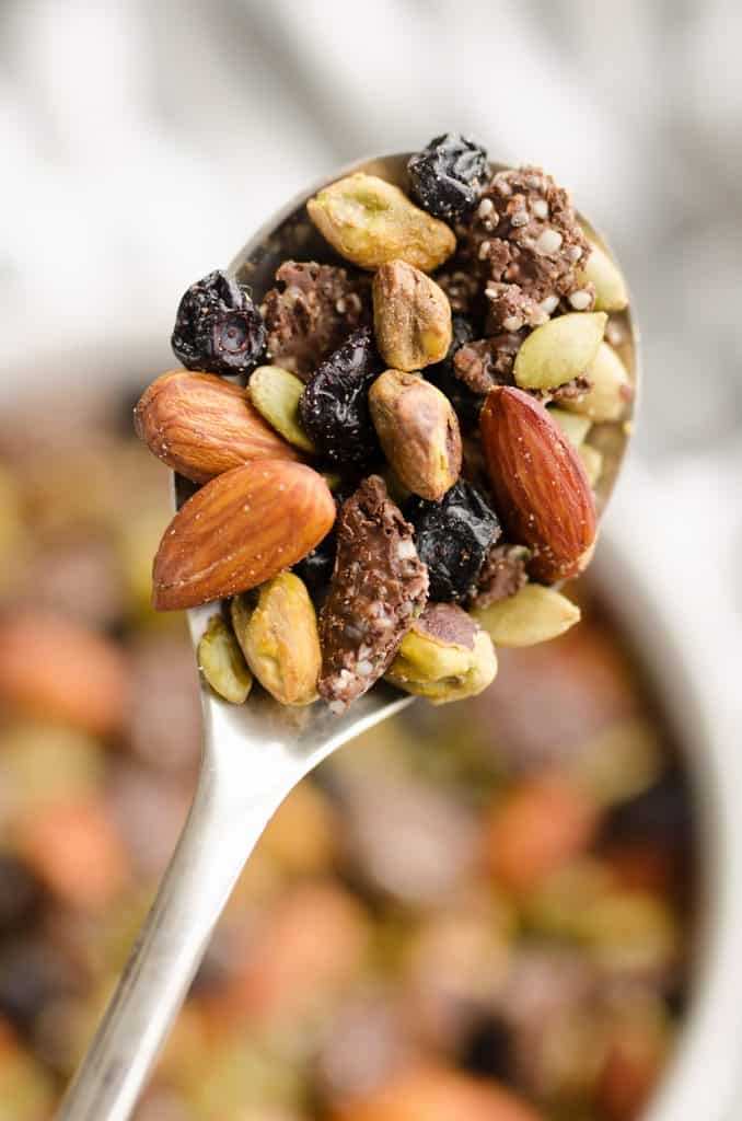 Blueberry Dark Chocolate Superfood Trail Mix in spoon