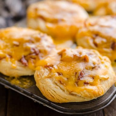Cheesy BBQ Biscuit Cups in pan