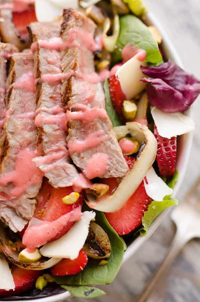 Grilled Steak Strawberry Salad closeup