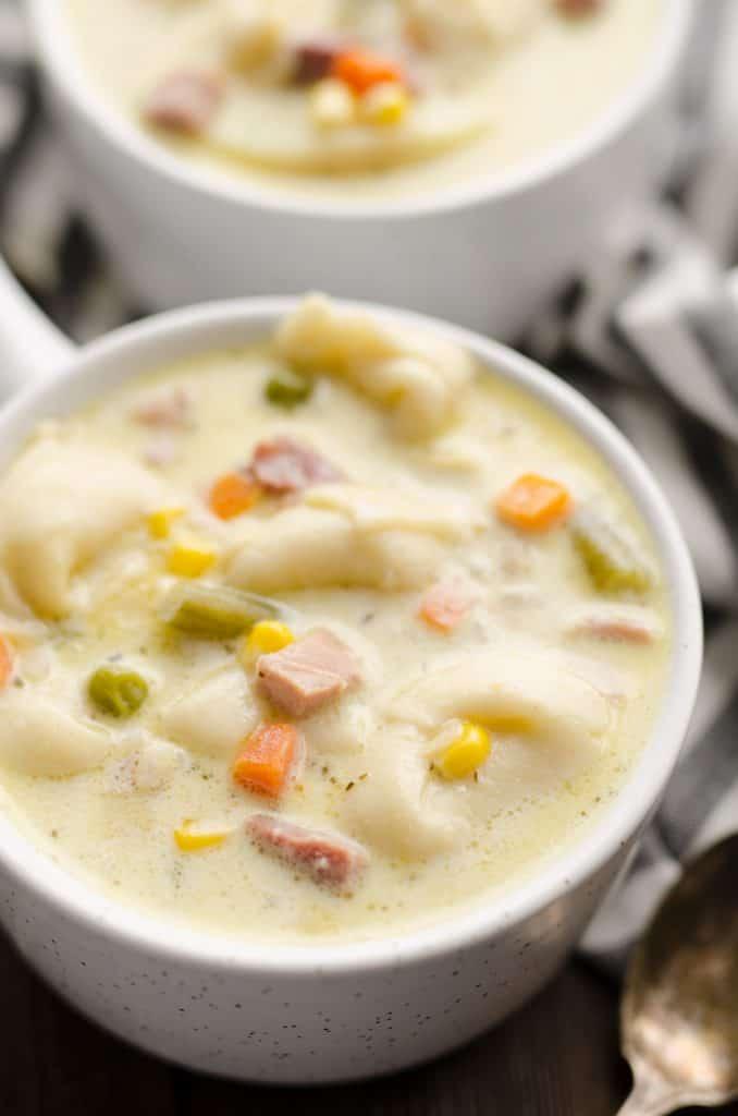 Pressure Cooker Creamy Ham & Tortellini Soup bowl