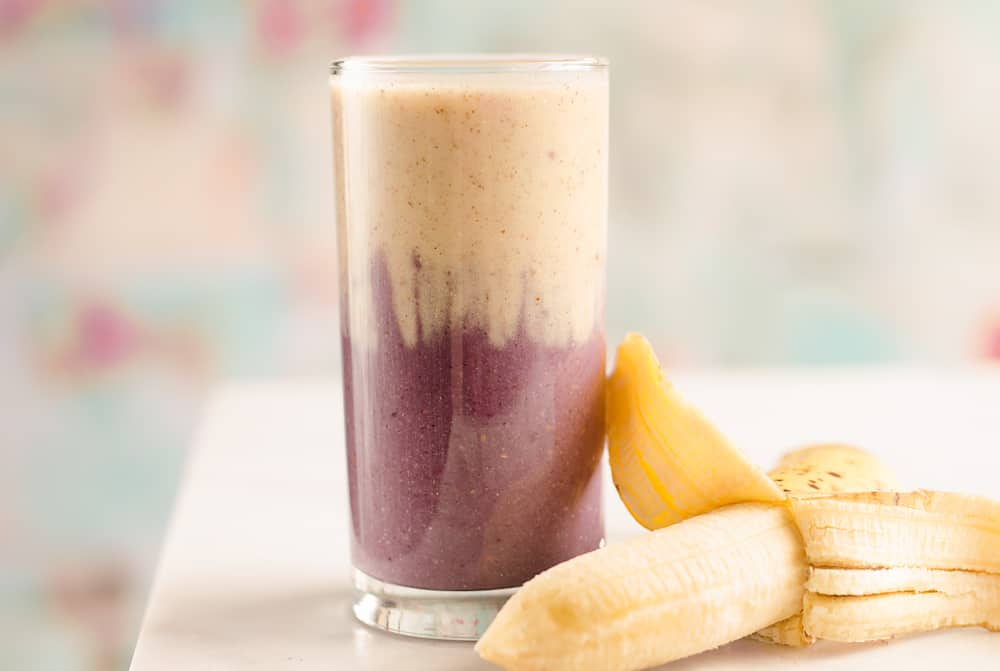 Blackberry Banana Protein Smoothie with fruit