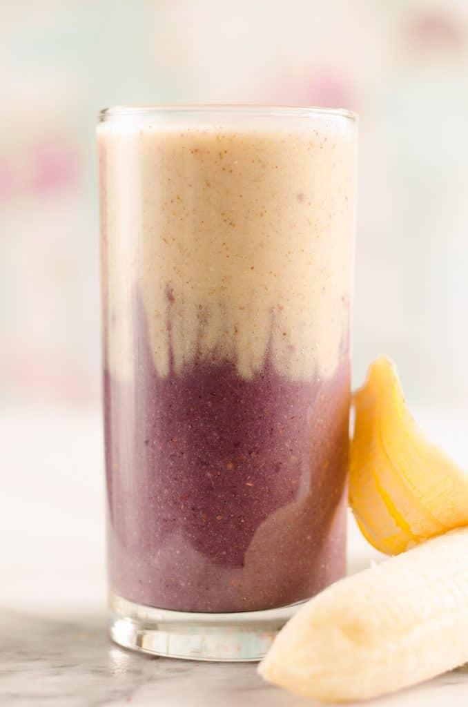 Blackberry Banana Protein Smoothie serving