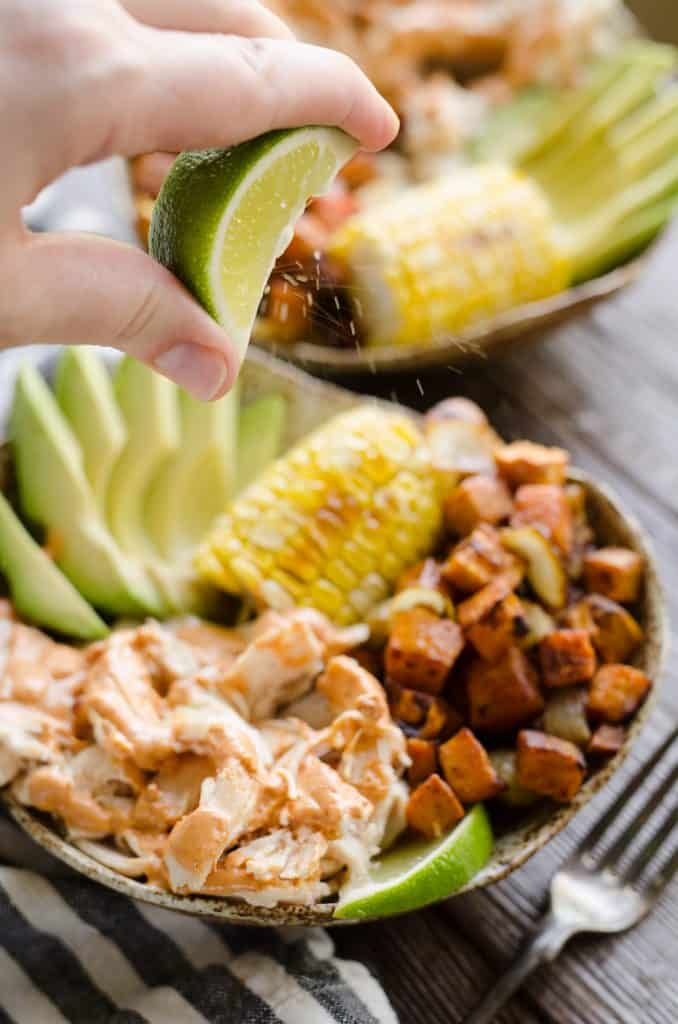 Chipotle Lime Chicken & Sweet Potato Bowls lime squeeze