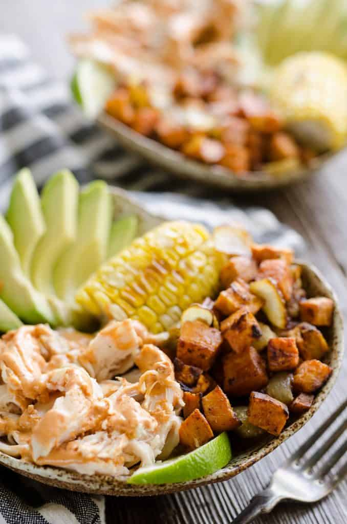 Chipotle Lime Chicken & Sweet Potato Bowls closeup