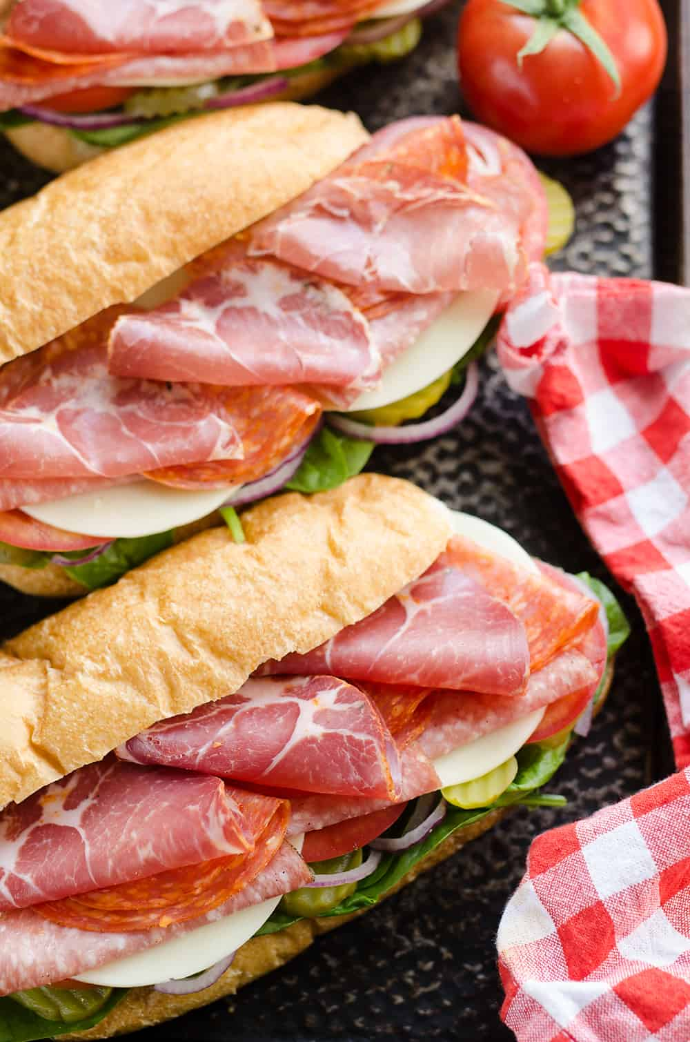 Italian Hero Sub Sandwich on pan