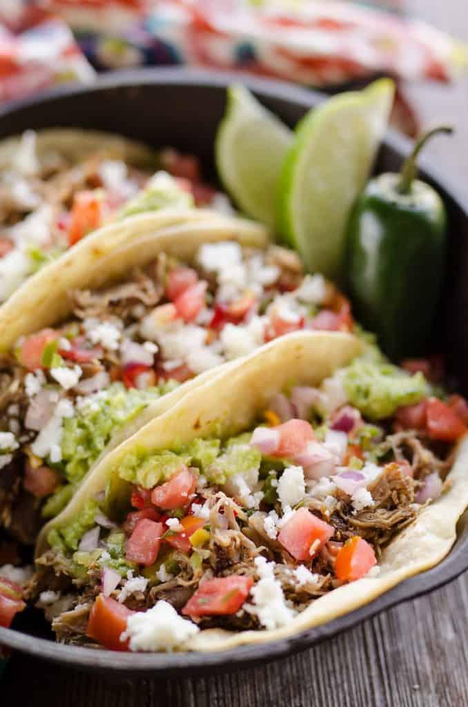 Pork Carnitas Street Tacos in skillet
