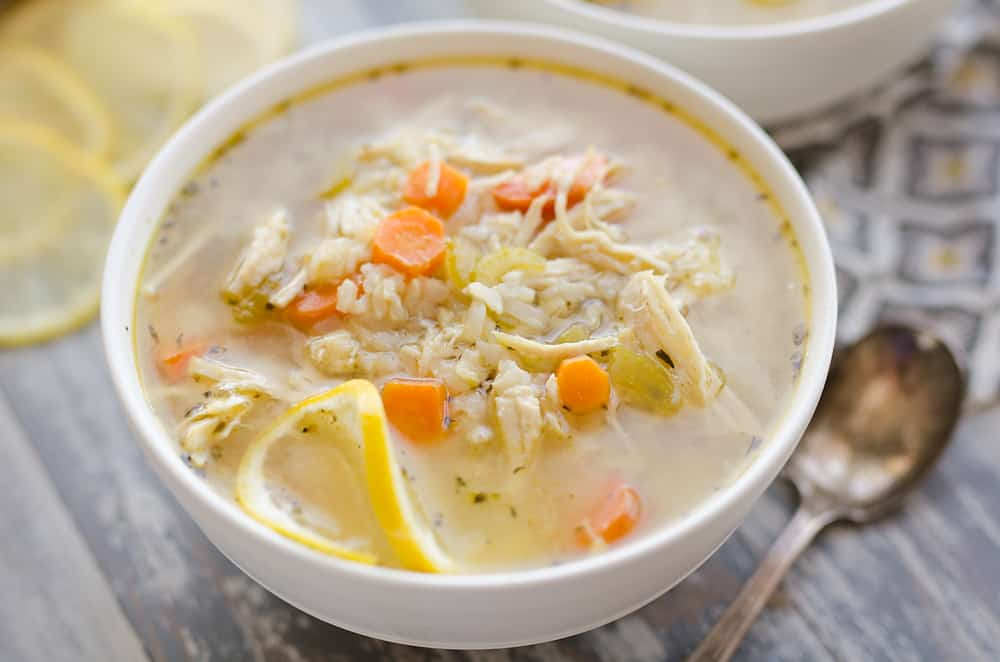 Pressure Cooker Lemon Chicken & Brown Rice Soup in bowl
