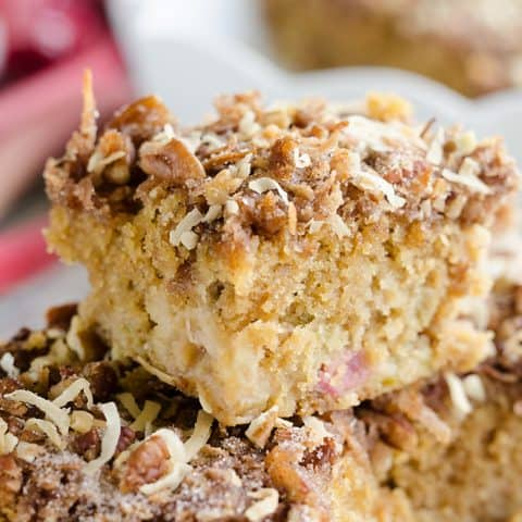 Rhubarb Streusel Coffee Cake serving