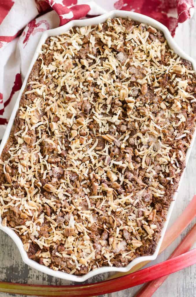 Rhubarb Streusel Coffee Cake in pan
