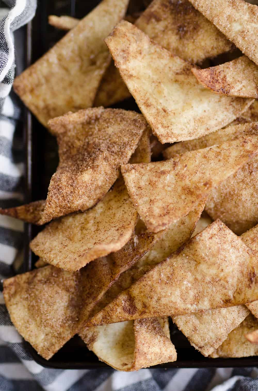 Baked Cinnamon Sugar Tortilla Chips in sheet pan