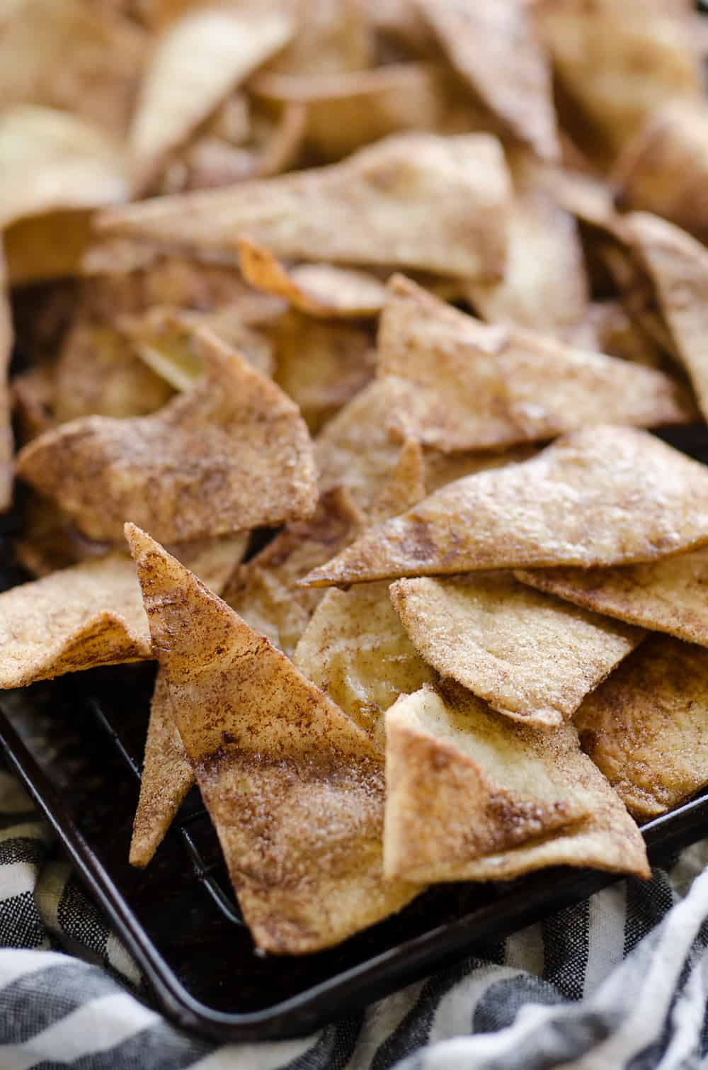 Baked Cinnamon Sugar Tortilla Chips baking sheet