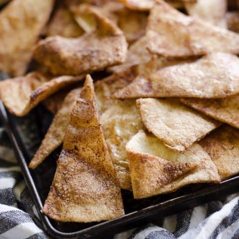 Baked Cinnamon Sugar Tortilla Chips closeup