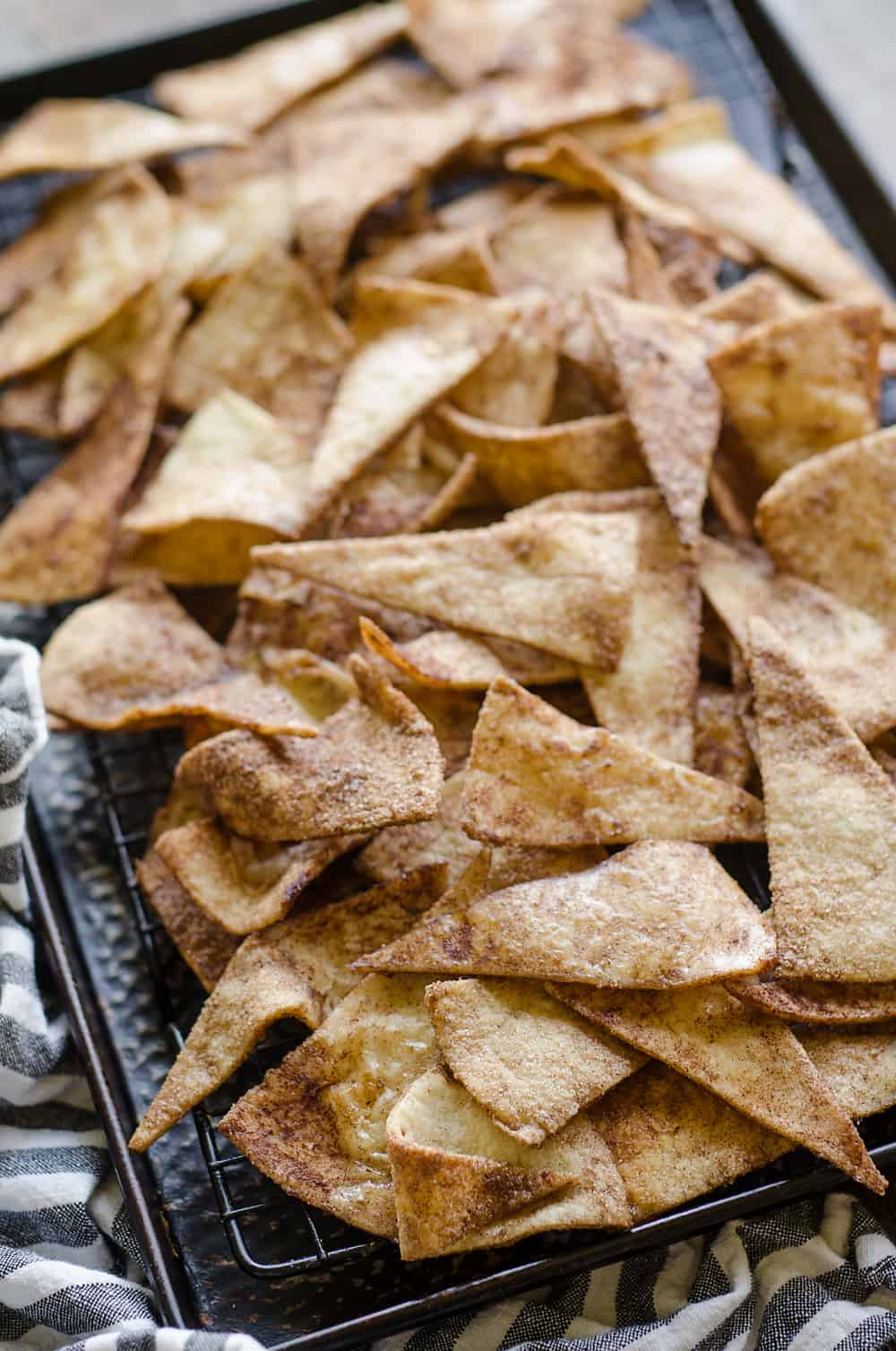 Baked Cinnamon Sugar Tortilla Chips in pan